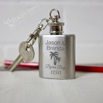 personalised engraved mini 1oz hip flask keyring wedding favour
