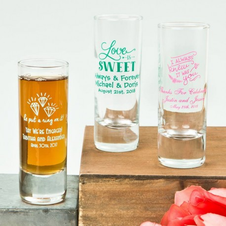 Printed Shooter Style 60ml Shot Glass Wedding Favour