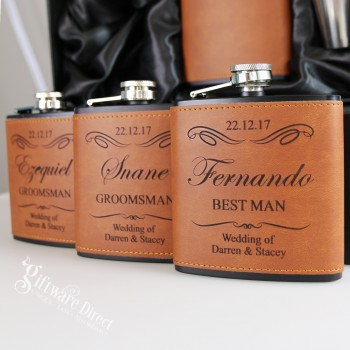 engraved black & leather hip flask brown gift set for groomsman gift