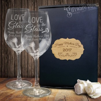 Mothers Day Personalised Double Wine Glass Set +PLAQUE Engraved