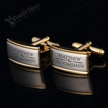 Engraved Euro Style Gold/Silver Cufflink Set personalised