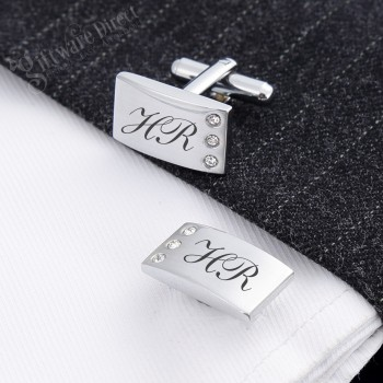 Engraved Silver Bling Style Cufflink Set Customised Laser Engraving Australia