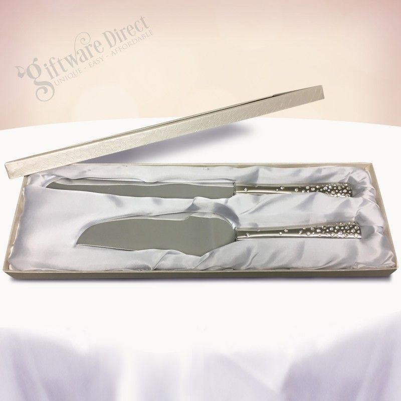 Personalised Engraved Diamonte Cake Serving Set With Gift Box