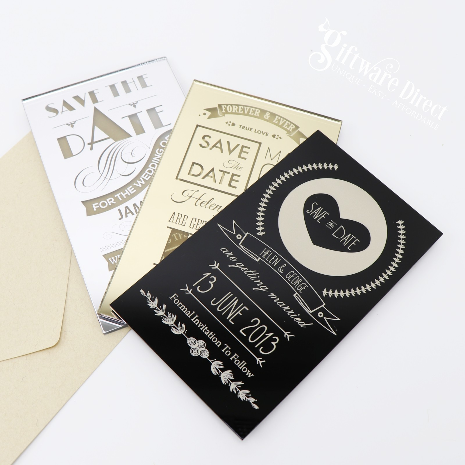 Black Champagne Personalised Wedding Save The Date Cards