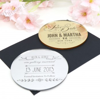"""Engraved Round Acrylic Wedding """"Save The Date"""""""