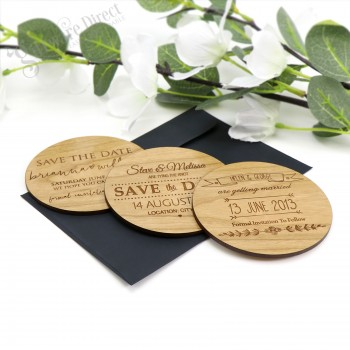 """Engraved Round Wooden """"Save The Date"""" with Magnet"""