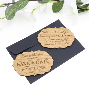 """Engraved Vintage Wooden """"Save The Date"""" with Magnet"""