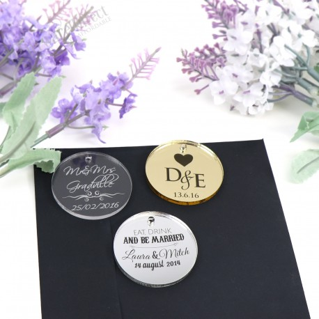 Engraved Round Acrylic Gift Tag with Raffia