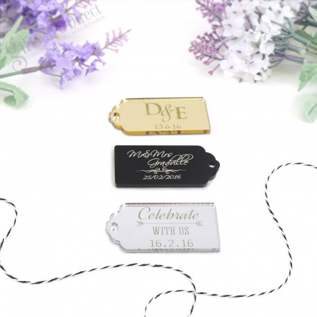 Personalised Acrylic Gift Tag with Jute String - Rectangle