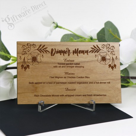 11B Laser Engraved Timber Menu Card