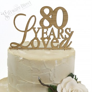 18th, 21st, 30th, 40th, 80th Any Age Birthday Bamboo Cake Topper Elegant Style