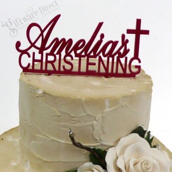 Personalised Christening Cake Topper Custom made Acrylic