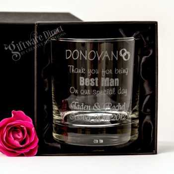 engraved scotch glass tumbler for groomsman and best man wedding gift etched