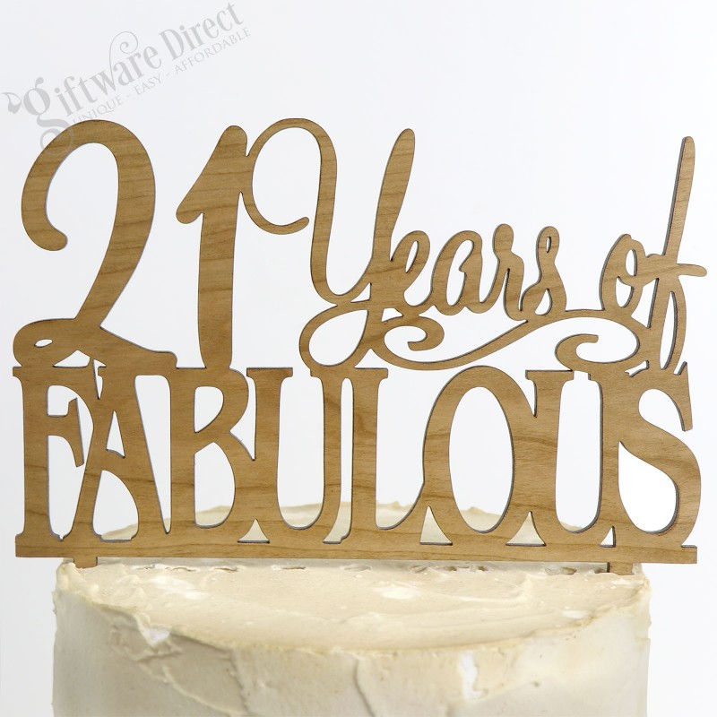 21 Fabulous Birthday Bamboo Cake Topper Any