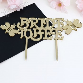 Custom Bridal Shower Hens Night Cake Topper Bride To Be - Bee Design - Acrylic