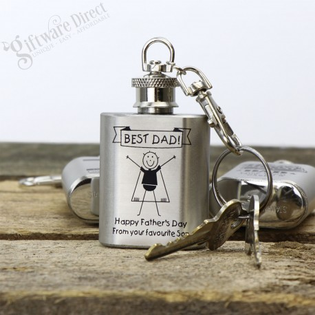 Fathers Day Engraved Silver Mini Hip Flask Keyring Gift