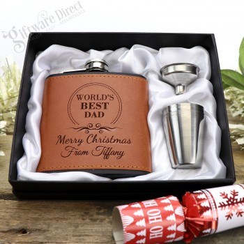 Christmas 6oz Black/Brown Leather Hip Flask Gift Set Personalised