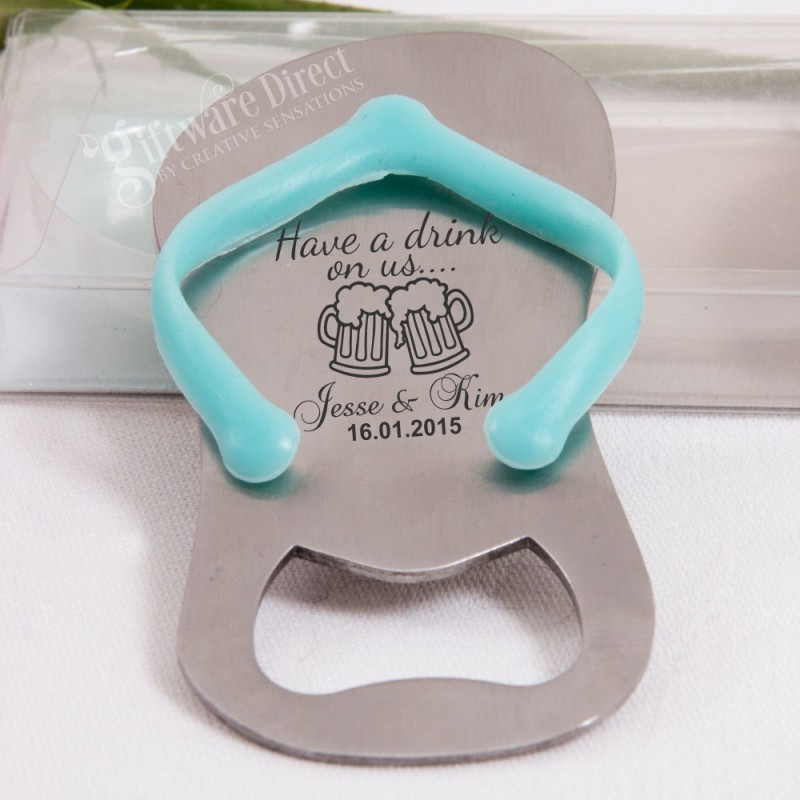 cd23e9ca78f1e4 ... Personalised engraved Flip Flop Thong Bottle Opener in Gift Box (Blue Pink)  Sandal ...