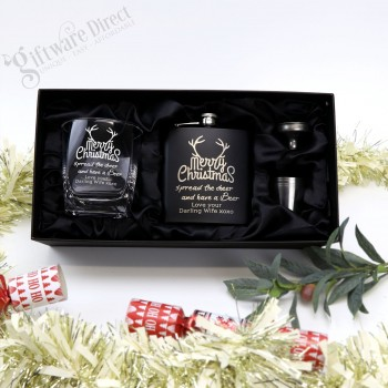 Ultimate Christmas Personalised Gift Pack Black Leather Flask + Glass Engraved
