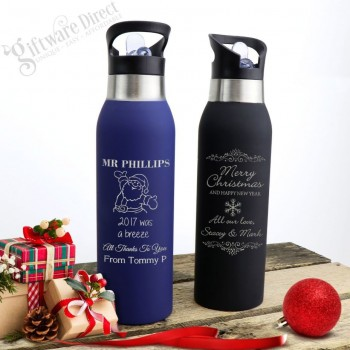 Christmas Thermal Engraved Stainless Steel Water Sports Drink Bottle
