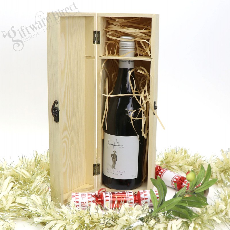 Wine Christmas Packaging.Personalised Wooden Wine Box Christmas Gift Present