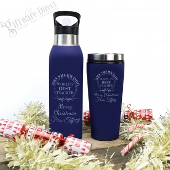Set of Engraved Stainless Steel Water Bottle and Travel Coffee Mug Thermal Christmas - Blue