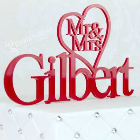 personalised acrylic wedding cake topper - custom made with heart on name surname