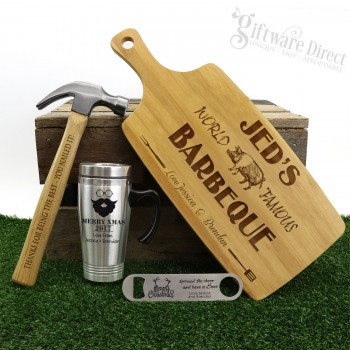 Ultimate Christmas Gift Pack Personalised Engraved Chopping Board, Hammer, Travel Mug & Bottle Opener - 2019