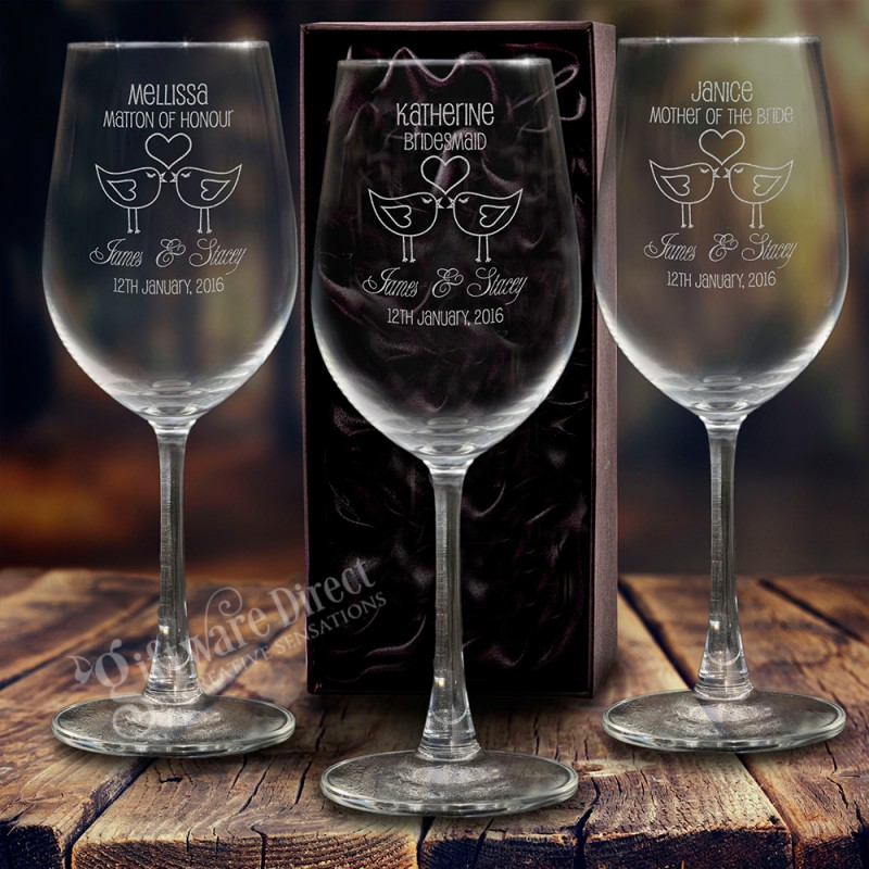 Wine Wedding: Personalised Engraved 350ml Wedding Wine Glass For The