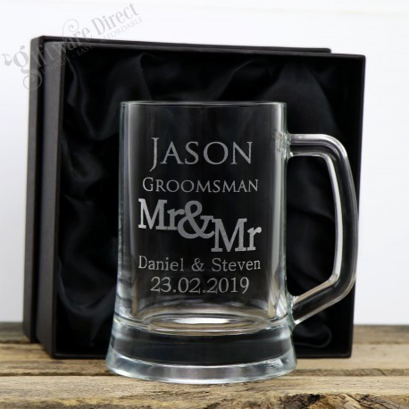 engraved wedding beer stein for groomsman gift - beer mug - glass