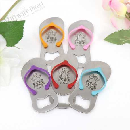 0320f743894476 Personalised engraved Flip Flop Thong Bottle Opener in Gift Box (Blue Pink)  Sandal