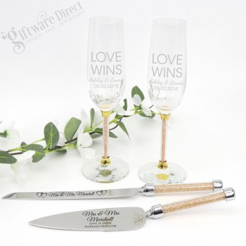 Engraved Gold Crystal Stem Cake Serving and Champagne Toasting Flute Set