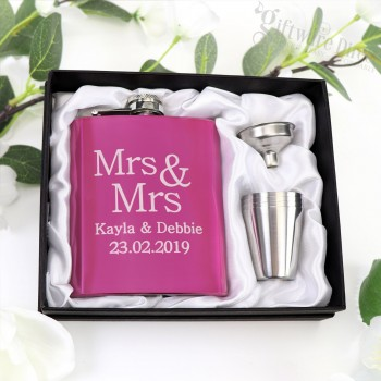 Engraved 7oz Pink Stainless Steel Hip Flask Same Sex Wedding Bridal Party Gift