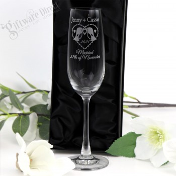 engraved wedding champagne glasses personalised