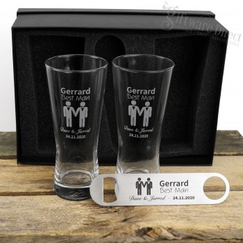 Same Sex Wedding Double 400ml Schooner Glass and Bottle Opener Gift Pack & Buy Same-Sex Marriage Gifts | Gay Couple Gifts | Giftware Direct ...