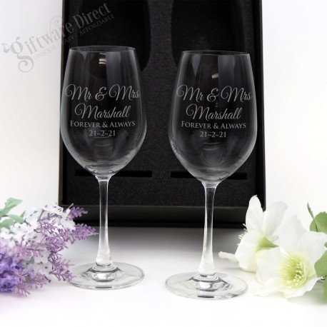 Engraved Double Wine Glass Personalised Set Gift Boxed Wedding