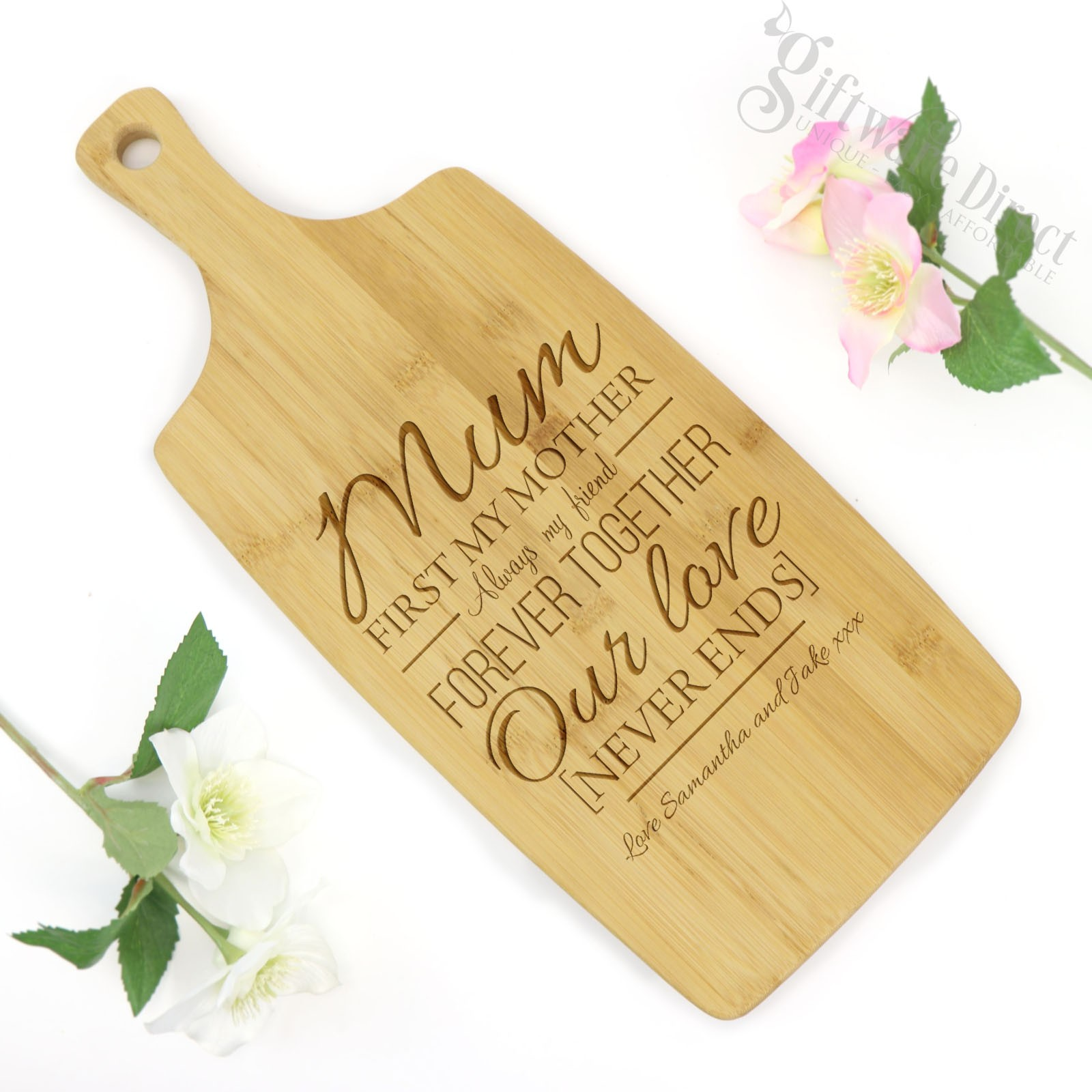 Engraved Mothers Day Hardwood Chopping Board Personalised Cheap