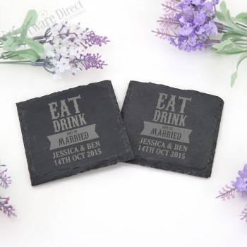 Engraved Slate Coasters Wedding Favours