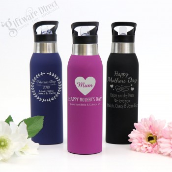 Engraved Stainless Steel Soft Feel Water Sports Mothers Day Drink Bottle