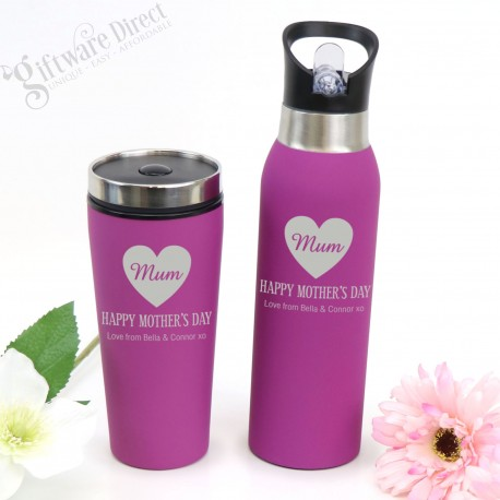 Engraved Stainless Steel Soft Feel Water Bottle and Travel Mug Set Mothers Day