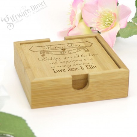 Personalised Engraved Square Wooden Mothers Day Coaster Gift Set of 4