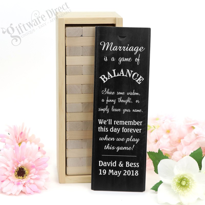 4d5060d2e9810 Personalised Jenga Wedding Guest Book Gift
