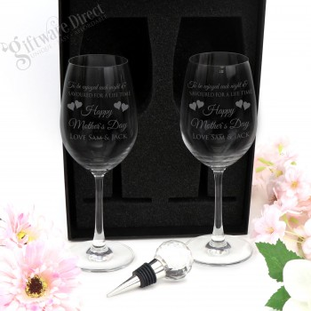 personalised mothers day present double wine glass gift boxed set