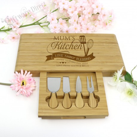 5 Piece Engraved Cheese Board with Utensils Mothers Day Gift