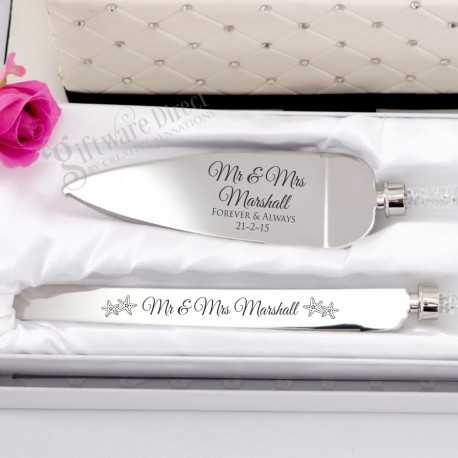 personalised engraved cake serving set crystal stem in gift box