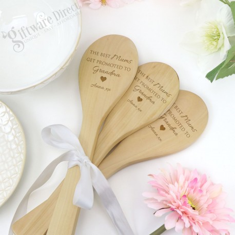 Set of 3 Wooden Spoons Engraved Personalised Mothers Day Gift