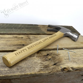 Engraved Timber Hammer Personalised Birthday Gift