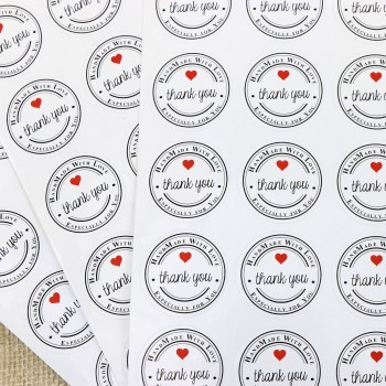 100 x Thank You Round Gift Sticker