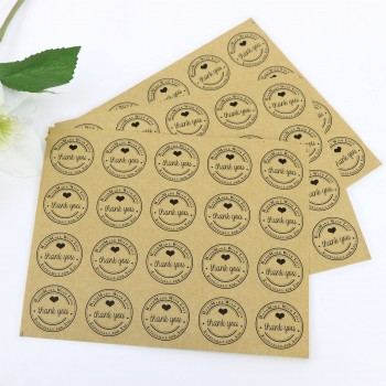 100 x Thank You Round Gift Sticker Kraft Colour