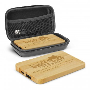 Engraved Bamboo Power Bank Portable Charger 4000mAh Fathers Day Gift